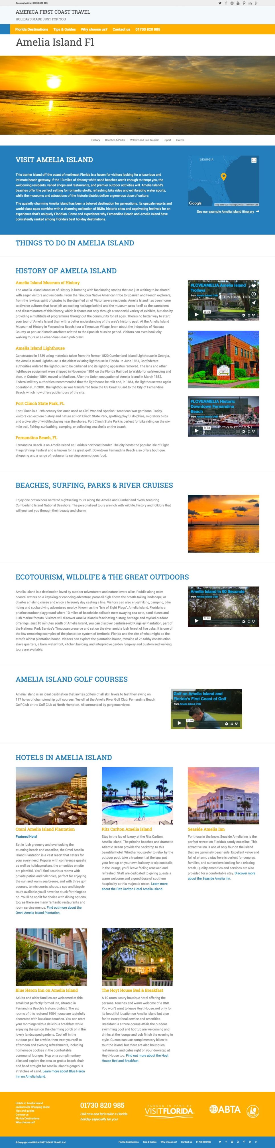 Amelia Island guide screenshot - copywriter for destination guides